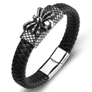 VTG Style  Spider Woven Punk Leather Bracelet MEN